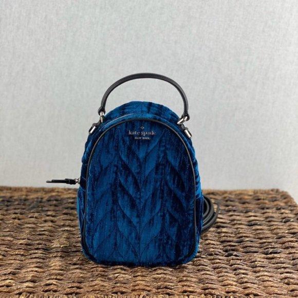 Kate Spade Navy Blue Quilted Velvet Mini Backpack